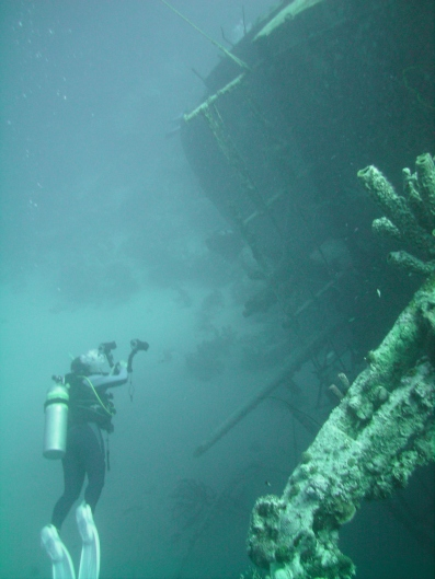 Me, diving on the Hilma Hooker wreck in Bonaire
