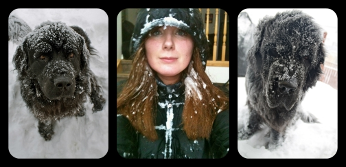 Snow faces on the dogs vs. me. I think they carry it better (and are happier about it, too!)